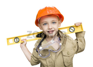 Child Boy with Level Playing Handyman Outside Isolated