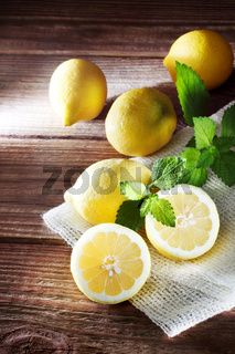 Lemons on a rustic wooden table
