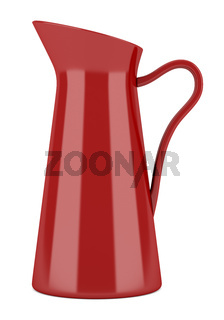 red ceramic jug and teapot isolated on white background