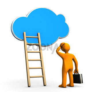 Cloud Businessman Ladder
