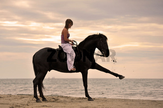 girl and  horse on the beach