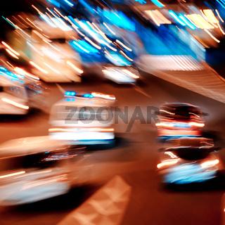 busy big city night traffic