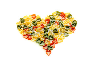 Heart of colored pasta.