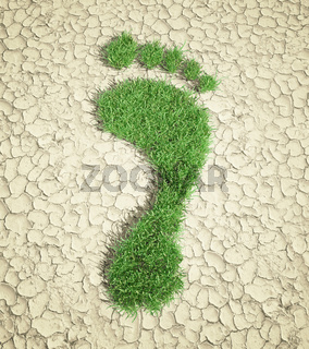 Ecological footprint concept illustration - grass patch footprint