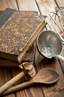 kitchen tools with cookbook