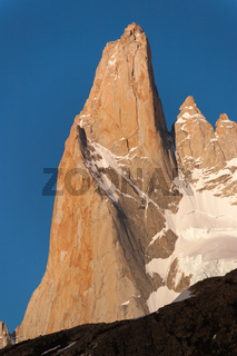 Mount Fitz Roy Detail in the evening sun