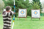 Archer aiming with bow