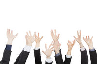 hands up group of business people isolated on white