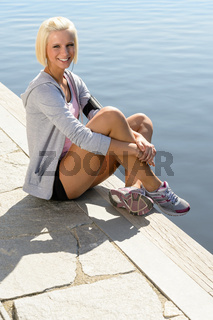 Sport woman summer relax water pier