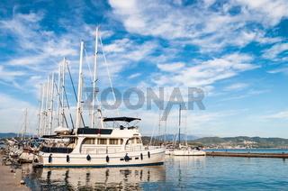 Sailing Boat docked in marina
