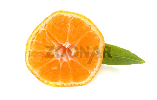 truncated mandarin orange with green leave