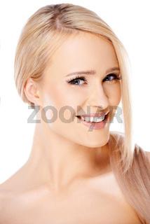 Close up portait of caucasian blond woman