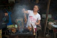 Köchin beim Grillen eines Fischs, Laos