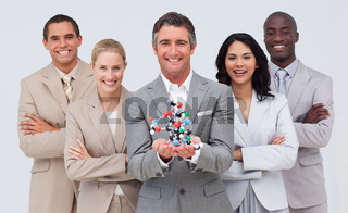 Business people holding a molecule model. Scince and business concept