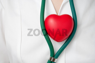 Physician with a red heart and stethoscope