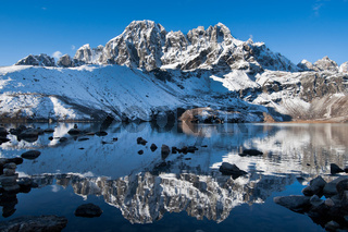 Sacred Gokyo Lake and mountain peak in Himalayas