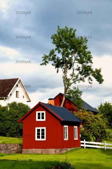 Ländliche Bebauung in Småland, Schweden