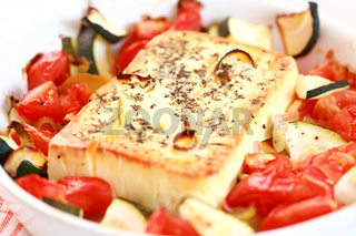 Baked feta cheese with vegetables
