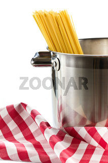 spaghetti in a stainless steel pot