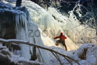 Gefrorene Romker Wasserfall,Harz,Germany.Ice Klimbing