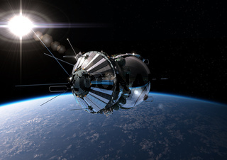 Spaceship at the Earth orbit