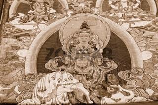 Wanddarstellung Buddha sepia