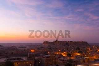 Jaisalmer Fort Sunrise Pink Clouds Houses H