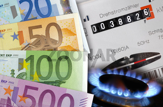 Energiekosten für Strom und Heizung