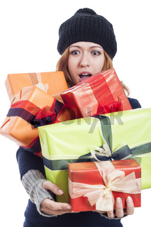 Ecstatic woman with many presents