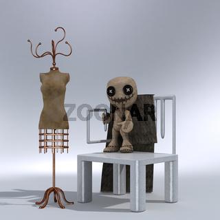 Stuhl, Kleiderständer, Puppe