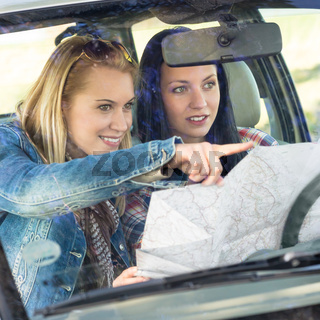 Road trip car lost women search map