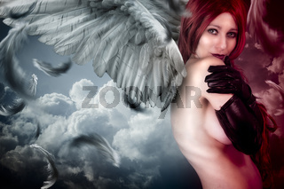 Female angel posing over a cloudy sky