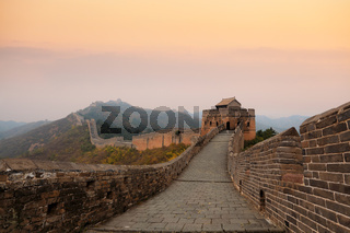 great wall of china in autumn dusk
