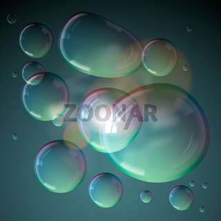Soap bubbles isolated on grey background.