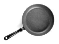 Black frying pan isolated on white background.