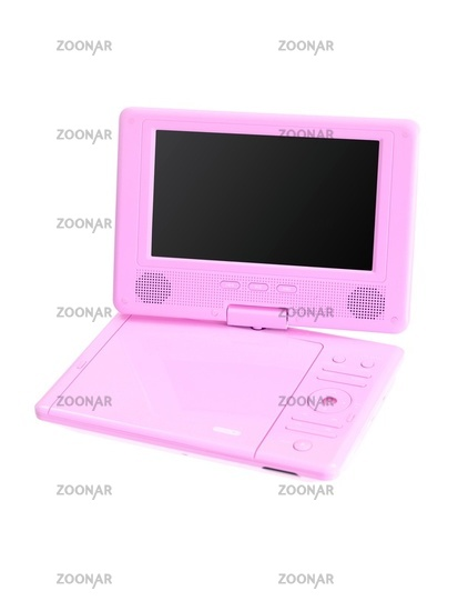 A portable dvd player isolated against a white background