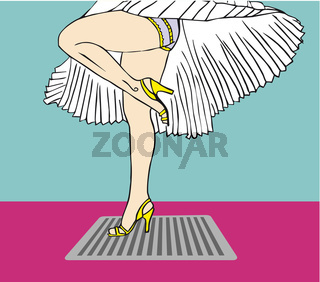 Marilyn Monroe legs style with flying dress