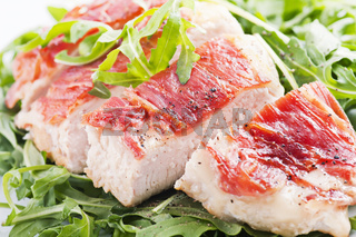Prosciutto chicken with rocket salad