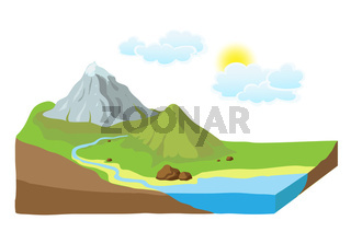 Earth slice with landscape