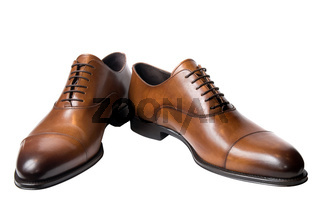 classic brown male leather shoes isolated on white