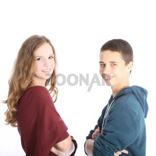 Friendly teenage siblings