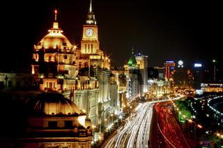 traffic trails along the bund, shanghai
