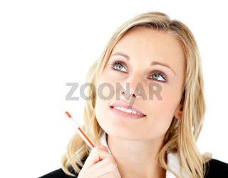 Thoughtful young businesswoman looking upwards against white background