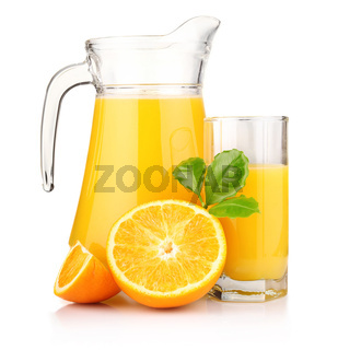 Jug, glass of orange juice and orange fruits with green leaves isolated