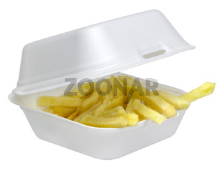 French fries in white plastic box