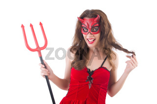 Woman as red devil in halloween concept