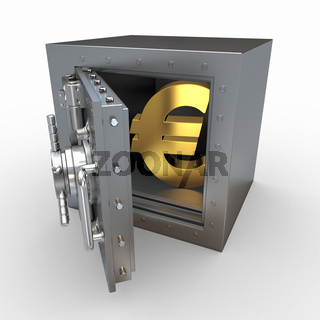 Euro sign in vault on white isolated background. 3d