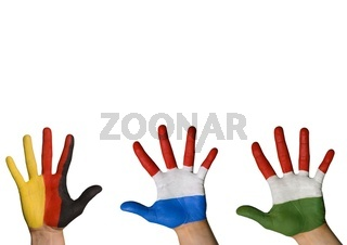 three hands in different colors waving