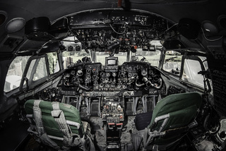 Inside of airplane cockpit