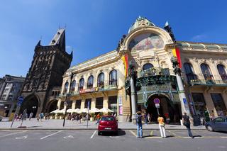 The Powder Gate and the Municipal House (Obecni dum) in Prague, The Czech Republic
